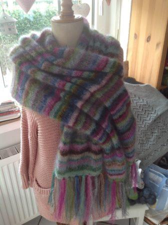 Earth stripe shawl